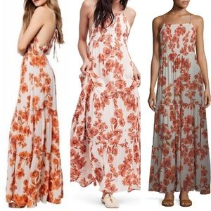 🌿 NWT FREE PEOPLE floral maxi dress orange cute